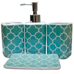 Kit de Acessórios para Banheiro em Cerâmica com 4 Peças Azul E Branco - Casanova
