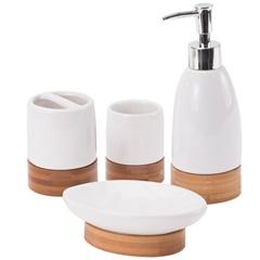 Kit de Acessórios para Banheiro em Cerâmica com 4 Peças Bambu - Casanova