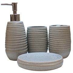 Kit de Acessórios para Banheiro em Cerâmica com 4 Peças Cinza - Casanova