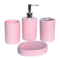Kit de Acessórios para Banheiro em Cerâmica com 4 Peças Rosa - Casanova