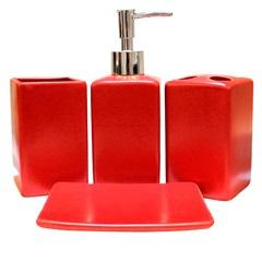 Kit de Acessórios para Banheiro em Cerâmica com 4 Peças Vermelho - Casanova
