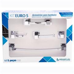 Kit de Acessórios para Banheiro Euro com 5 Peças Cromado - Aquaplás