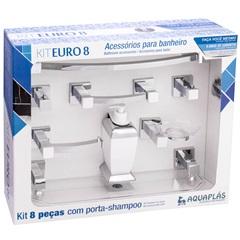 Kit de Acessórios para Banheiro Euro com 8 Peças Cristal - Aquaplás