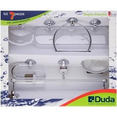 Kit de Acessórios para Banheiro Genebra com 7 Peças Cromado E Cristal - Duda
