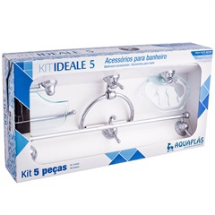 Kit de Acessórios para Banheiro Ideale com 5 Peças Verde - Aquaplás