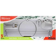 Kit de Acessórios para Banheiro Mônaco com 5 Peças Cromado E Cristal - Duda