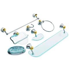 Kit de Acessórios para Banheiro Mondo com 7 Peças Cromado E Dourado - Aquaplás