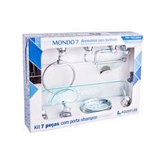 Kit de Acessórios para Banheiro Mondo com 7 Peças Verde - Aquaplás