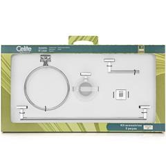Kit de Acessórios para Banheiro Up com 5 Peças Cromado - Celite