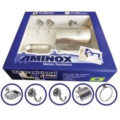 Kit de Banheiro com 5 Peças em Aço Inox  - Aminox