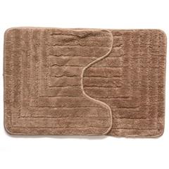 Kit de Tapetes de Banheiro em Microfibra com 2 Peças Bege - Casanova