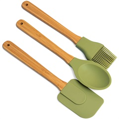 Kit de Utensílios Task Silicone Bambu Verde com 3 Peças