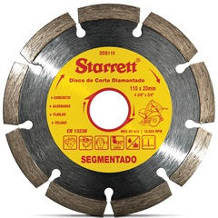 Kit Discos Diamantados Segmentados de Corte Leve 3 Pague 2 Amarelo E Cromado - Starrett