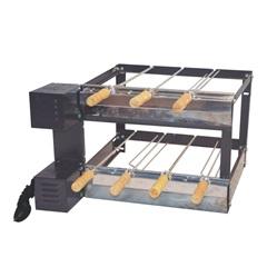 Kit Giratório Duplo em Aço Carbono para Churrasqueira 37x58x60cm com 7 Espetos - Santa Edwirges