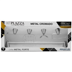 Kit Plazza 5 Peçs Metal Cromado - Aquaplás
