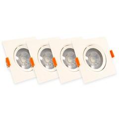 Kit Spot Led de Embutir Quadrado 5w Bivolt Branco com 4 Peças 6000k Luz Branca