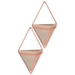 Kit Vaso em Cerâmica Prisma Bege E Bronze com 2 Peças - Casa Etna