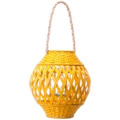 Lanterna Bamboo 30cm Amarela - Casa Etna