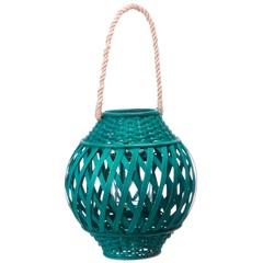Lanterna Bamboo 30cm Azul - Casa Etna