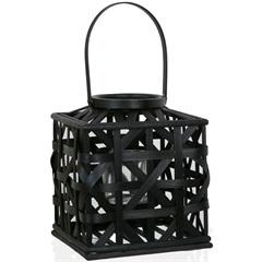 Lanterna Bamboo Quadrada 23cm Preta - Casa Etna