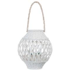Lanterna Bambu 30cm Branca - Casa Etna