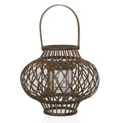 Lanterna em Bambu Crisscross com Vidro 22cm Marrom - Casa Etna