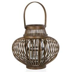 Lanterna em Bambu Stick com Vidro 30cm Marrom - Casa Etna
