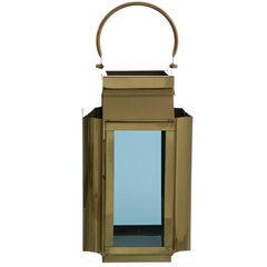 Lanterna em Metal Jacarta 44x23cm Dourada - Casa Etna