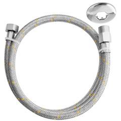 """Ligação Flexível de Aço Inox para Água Ntp1/2"""" X Bsp 1/2'' com 1metro - Blukit"""