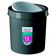 Lixeira Basculante de Plástico 4,3 Litros Preta - Sanremo