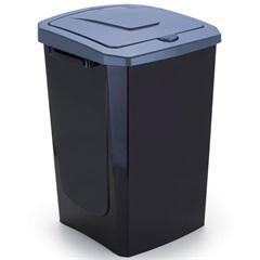 Lixeira com Tampa Ecofácil 40 Litros Preta E Azul - Arthi