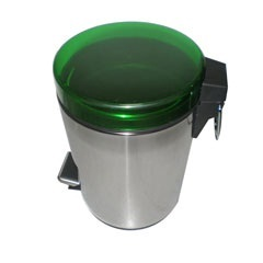 Lixeira Inox com Pedal 12 Litros Tampa Verde - Importado
