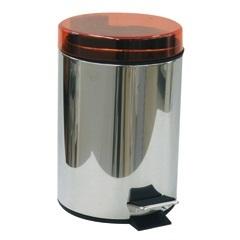 Lixeira Inox com Pedal 5 Litros Tampa Laranja - Importado
