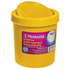 Lixeira Redonda com Tampa Basculante 4,3 Litros Amarela - Primafer