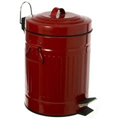 Lixeira Retrô em Aço com Pedal 5 Litros Vermelha - Casa Etna