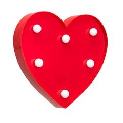 Luminária de Mesa Led Infantil Decorativa Coração Vermelha - Elgin