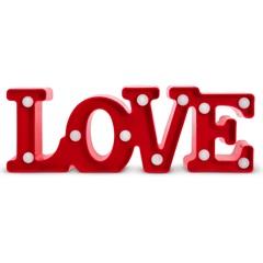 Luminária de Mesa Led Infantil Decorativa Love Vermelha - Elgin