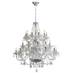 Lustre Clássico com 30 Luzes 260x110cm Transparente - Bronzearte