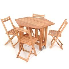 Mesa Aparador Dobrável com 4 Cadeiras em Madeira 75x103cm Natural - Metalnew