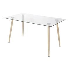 Mesa de Jantar com Tampo em Vidro Taurus 80x120cm Madeira Clara - Ór Design