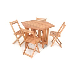 Mesa em Madeira Dobrável com 4 Cadeiras Natural - Metalnew