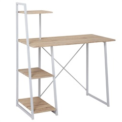 Mesa para Computador com Prateleiras 102x50cm Branca E Bege - Casanova
