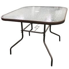 Mesa para Jardim em Aço E Tampo de Vidro 90cm Marrom - Importado