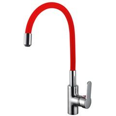 Misturador Monocomando para Cozinha de Mesa Bica Flexível Cni1003 Vermelho E Cromado - Casanova