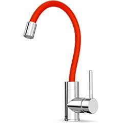 Misturador Monocomando para Cozinha de Mesa Celite Colors Cromado E Vermelho - Celite