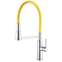 Misturador Monocomando para Cozinha Gourmet de Balcão 2884 C75 Minimal Cromado E Amarelo - Meber