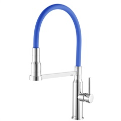 Misturador Monocomando para Cozinha Gourmet de Balcão 2884 C75 Minimal Cromado E Azul - Meber