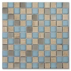 Mosaico Asteca Mitra Azul E Bege 30,5x30,5cm - Colormix