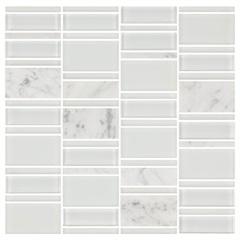Mosaico Borda Bold Blend Marble White 30x30cm com 1 Peça - Portinari