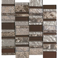 Mosaico Borda Reta Glazed Stone Gold Marrom 30x30cm - Incepa